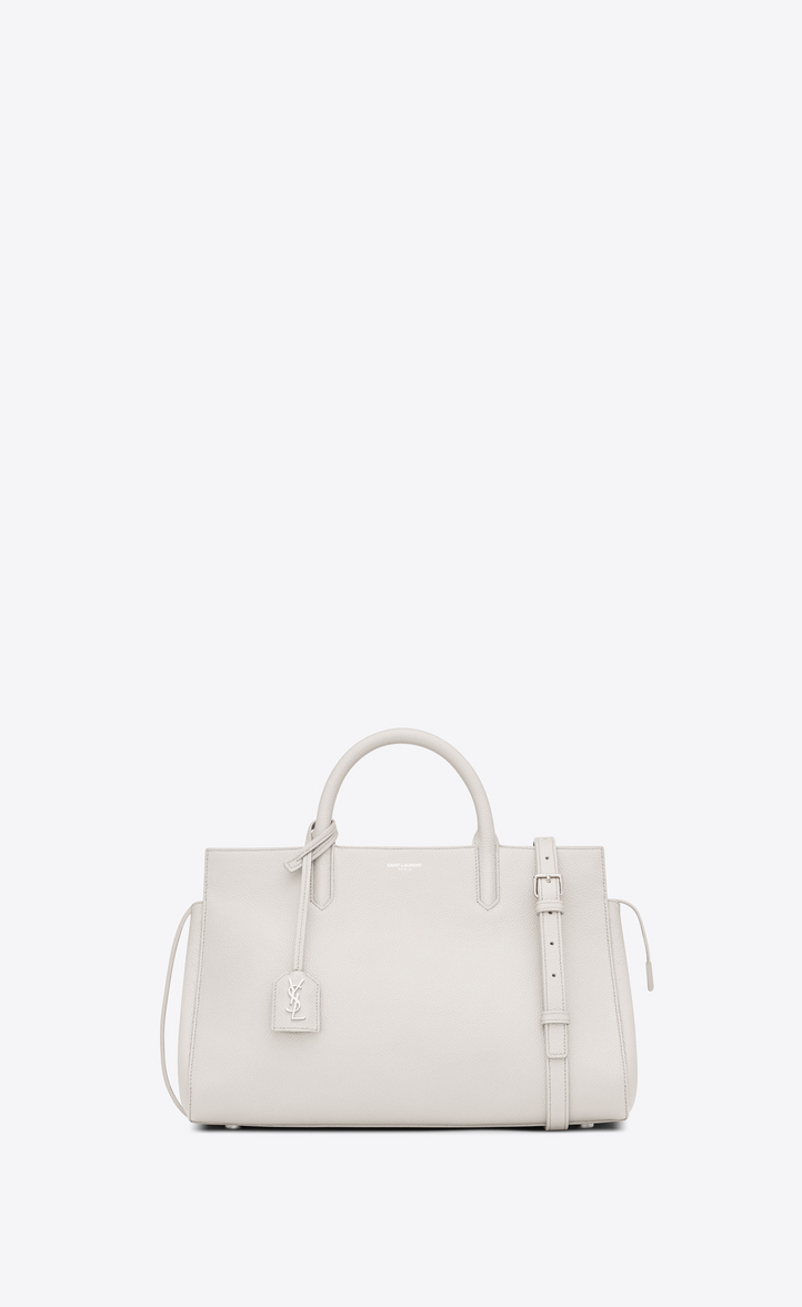 Small Cabas Rive Gauche Bag In Dove White Grained Leather Front View