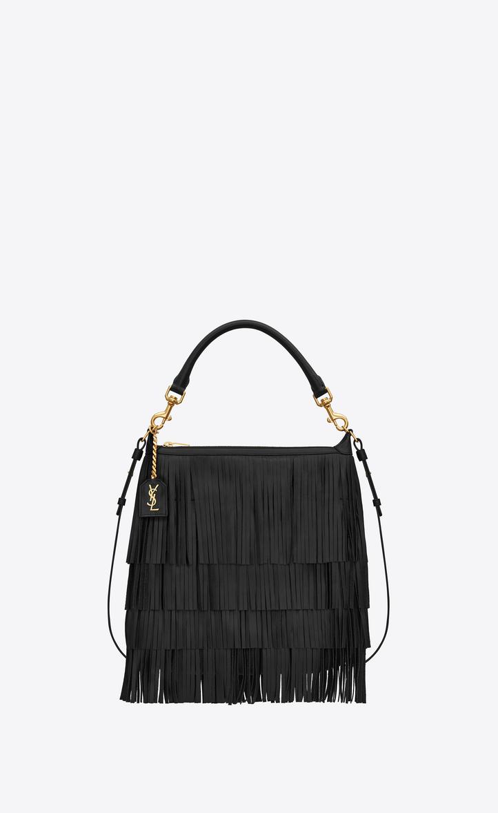 424c4608502 Saint Laurent Small EMMANUELLE Fringed Hobo Bag In Black Leather ...