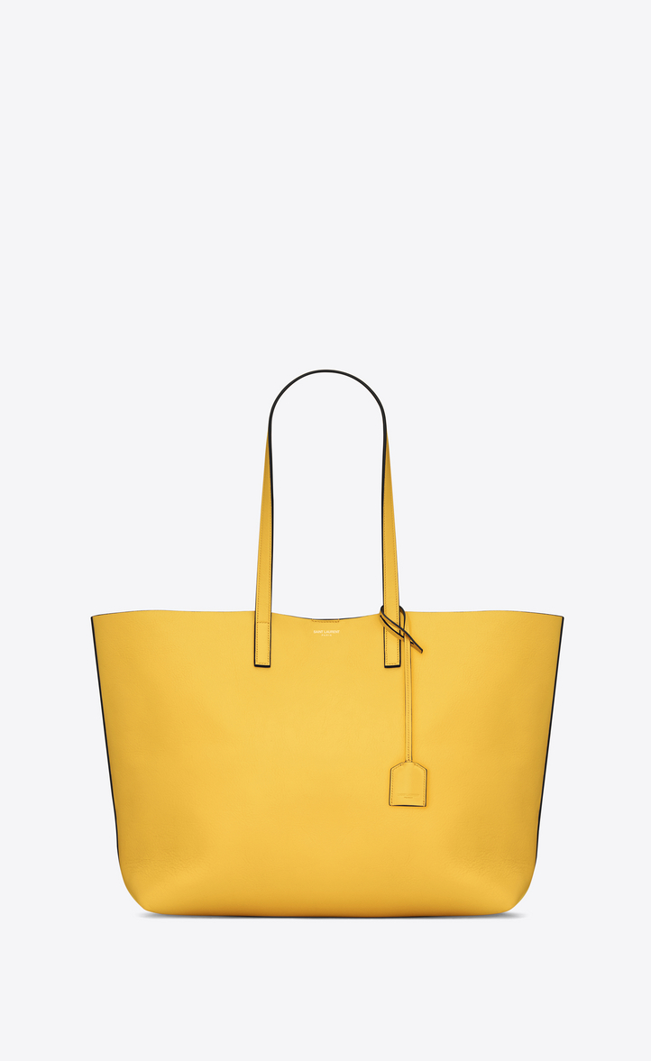 Shopping Saint Laurent Tote Bag In Black Leather Ysl Com - Shopping saint laurent e w