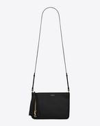 SAINT LAURENT Monogram fringes D Small MONOGRAM SAINT LAURENT Crossbody bag in Black Leather f