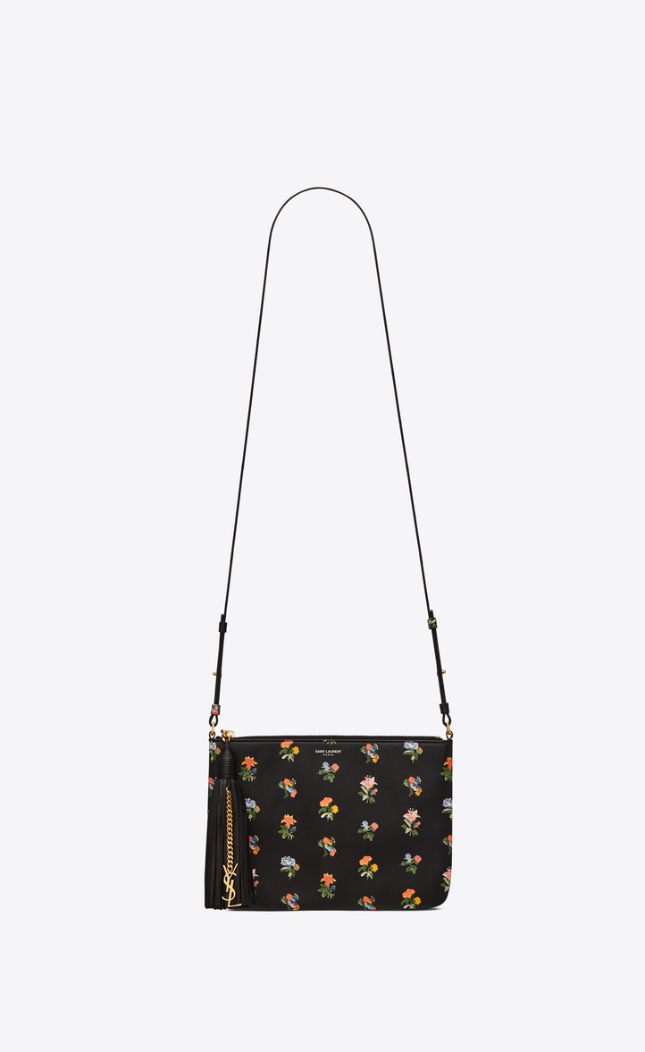ffcb0a047009 Zoom  Small MONOGRAM SAINT LAURENT Crossbody bag in Black and Multicolor  Prairie Flower Printed Leather