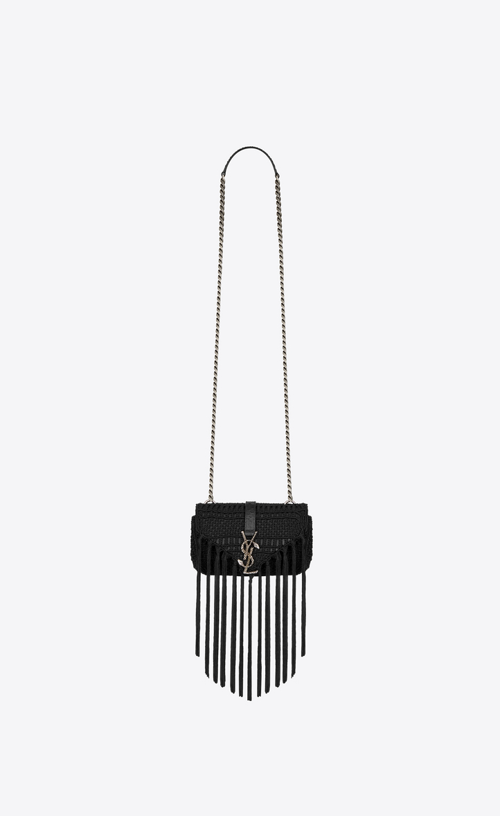 Zoom  Classic Baby MONOGRAM SAINT LAURENT chain bag in Black Leather and  Crochet e7e8343ec6afc