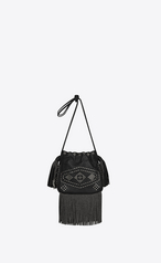 Saint Laurent Small Helena Fringed Bucket Bag In Black