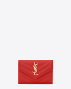 Small MONOGRAM SAINT LAURENT Envelope Wallet in Red Grain de Poudre Textured Matelassé Leather