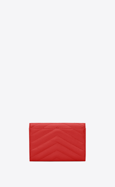 SAINT LAURENT Monogram Matelassé Femme monogramme petit portefeuille enveloppe en cuir embossé grain de poudre b_V4