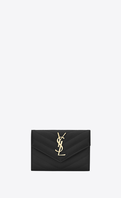 SAINT LAURENT Monogram Matelassé D small monogram envelope wallet in black grain de poudre textured matelassé leather a_V4