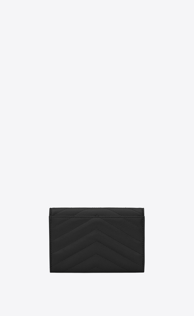 SAINT LAURENT Monogram Matelassé D small monogram envelope wallet in black grain de poudre textured matelassé leather b_V4