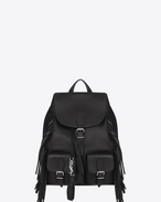 SAINT LAURENT Backpack SL D Sac à dos FESTIVAL à franges en cuir noir f