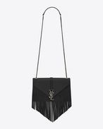 SAINT LAURENT Monogram fringes D Classic Medium KATE MONOGRAM SAINT LAURENT Fringed Satchel in Black Leather f