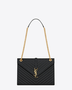 SAINT LAURENT Monogram envelope Bag D Large ENVELOPE Chain Bag in black grain de poudre textured matelassé leather f