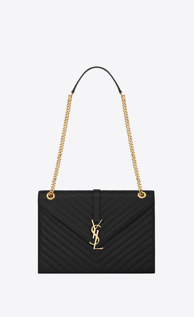SAINT LAURENT Monogram envelope Bag D Large ENVELOPE Chain Bag in black grain de poudre textured matelassé leather a_V4