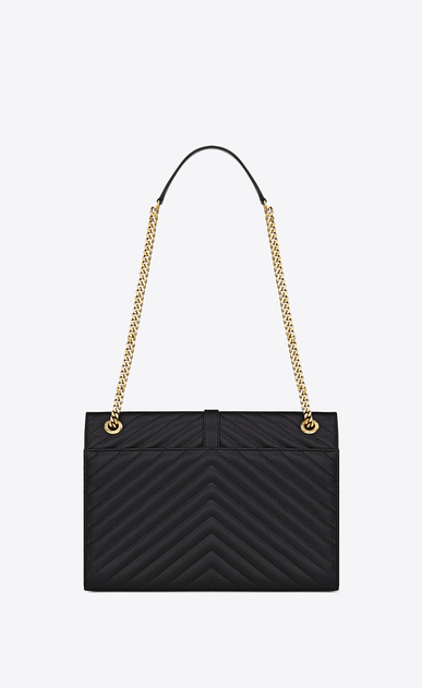 SAINT LAURENT Monogram envelope Bag D Large ENVELOPE Chain Bag in black grain de poudre textured matelassé leather b_V4