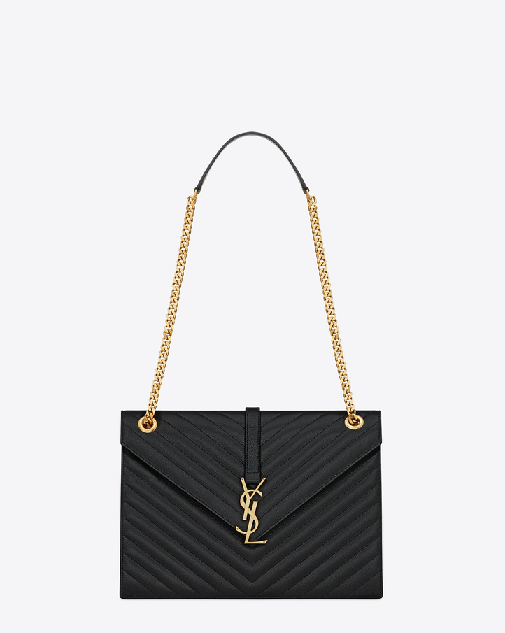 Saint Laurent Large Envelope Chain Bag In Black Grain De