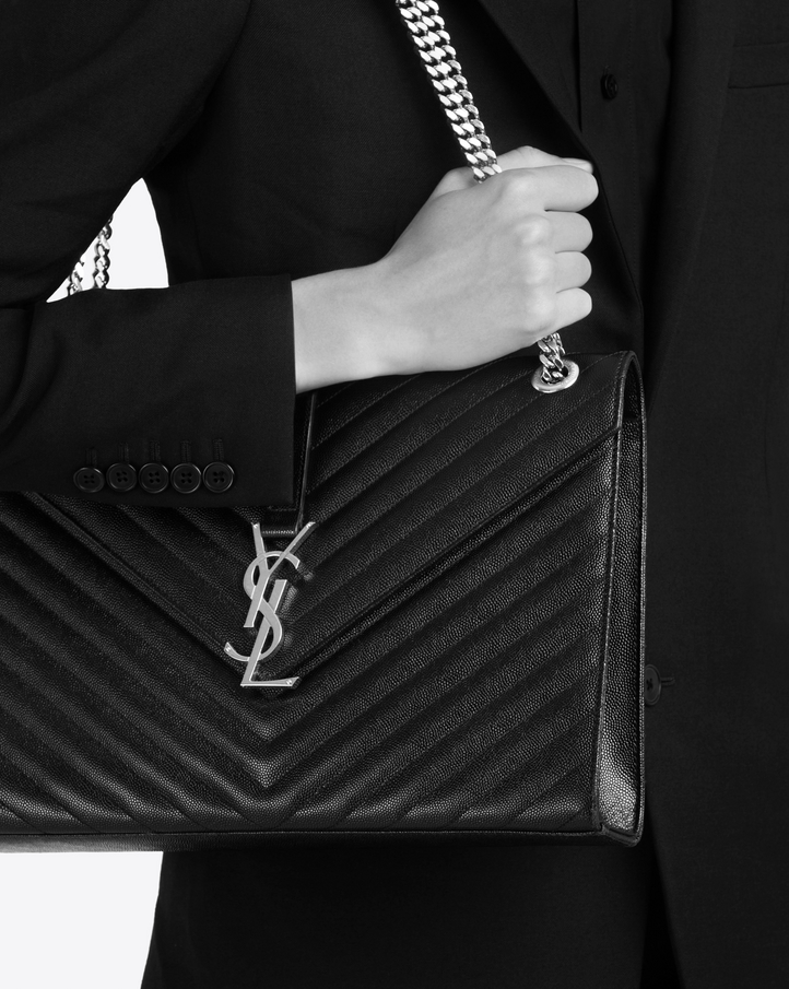 2055d024c9fd Saint Laurent Large Envelope Chain Bag In Black Textured Matelassé ...