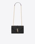 SAINT LAURENT Monogram fringes D Classic small MONOGRAM SAINT LAURENT satchel in Black Matelassé leather f