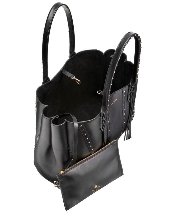 LANVIN Small shopper bag in smooth calfskin and studs Tote D d