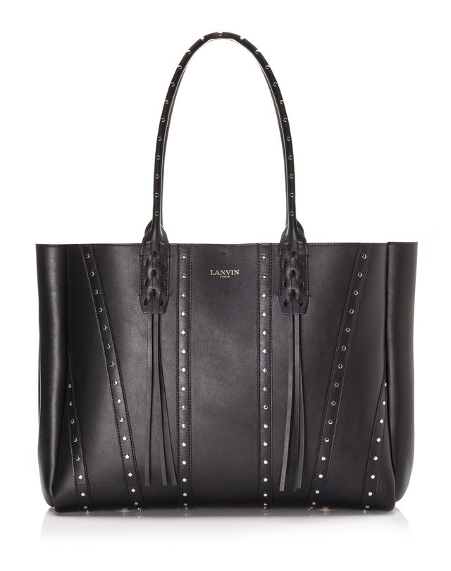 LANVIN Small shopper bag in smooth calfskin and studs Tote D f