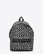 Classic HUNTING backpack in Black and White Star Printed Faux Leather and Black Leather and Nylon