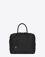 SAINT LAURENT Business U Classic Small MUSEUM Briefcase in Black Grained Leather f