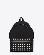 Classic HUNTING Studded Backpack in Black Cotton Twill, Nylon and Leather and Oxidized Silver-Toned Metal