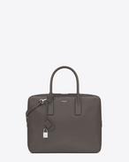 SAINT LAURENT Business U Petit PORTE-DOCUMENTS plat MUSEUM EN CUIR TEXTURÉ GRAIN-DE-POUDRE gris earth f