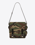 ARMY Messenger Bag in Camouflage Cotton Gabardine and Black Leather