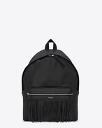 DÉLAVÉ Fringed Backpack in Black Leather