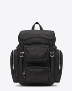 SAINT LAURENT Buckle Backpacks U DÉLAVÉ Multi-pocket Rucksack in Black Washed Leather f