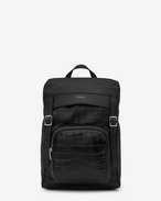 SAINT LAURENT Buckle Backpacks U DÉLAVÉ Rucksack in Black Crocodile Embossed Leather f