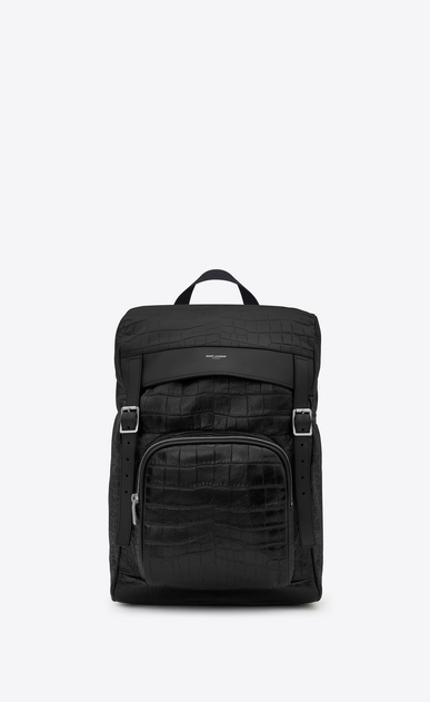 SAINT LAURENT Buckle Backpacks U DÉLAVÉ Rucksack in Black Crocodile Embossed Leather a_V4