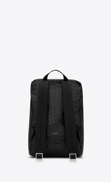 SAINT LAURENT Buckle Backpacks Man DÉLAVÉ Rucksack in Black Crocodile Embossed Leather b_V4