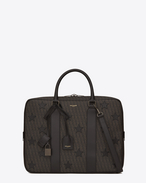 SAINT LAURENT Business U Classic Small TOILE MONOGRAM CALIFORNIA Briefcase in Black Printed Canvas and Leather f