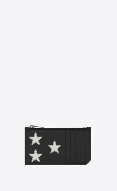 RIDER CALIFORNIA 5 Fragments Zip Pouch in Black Leather and Silver Grained Metallic Leather