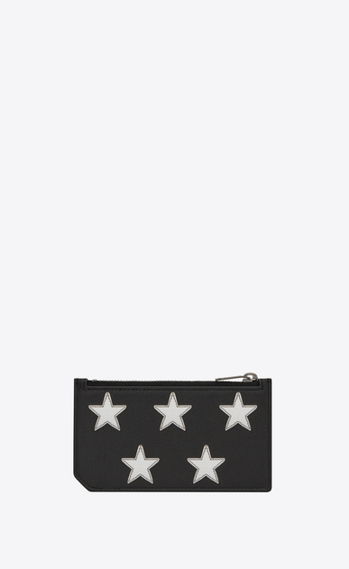 SAINT LAURENT rider slg U RIDER CALIFORNIA 5 Fragments Zip Pouch in Black Leather and Silver Grained Metallic Leather b_V4
