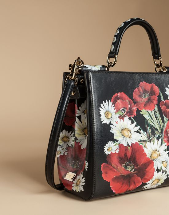 SICILY SHOPPING BAG IN PRINTED DAUPHINE LEATHER - Medium leather bags - Dolce&Gabbana - Summer 2016