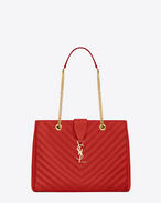 SAINT LAURENT MONOGRAMME TOTE D CLASSIC MONOGRAM SAINT LAURENT SHOPPING BAG IN LIPSTICK RED GRAIN DE POUDRE TEXTURED MATELASSÉ LEATHER f