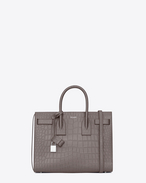 SAINT LAURENT Sac De Jour Small D Classic Small Sac De Jour Bag in Fog Crocodile Embossed Leather f