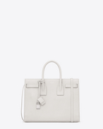 SAINT LAURENT Sac De Jour Small D CLASSIC SMALL SAC DE JOUR BAG IN Dove White Grained LEATHER f