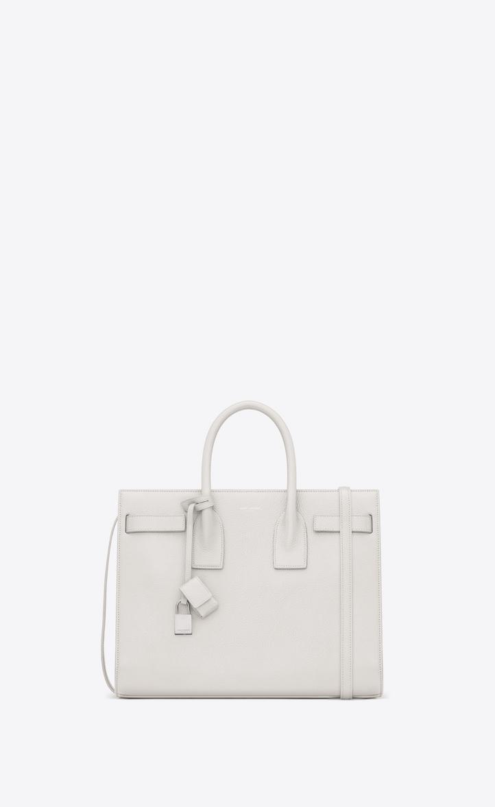 86e48059328c7 Saint Laurent Small Sac De Jour Bag In Dove White Grained Leather ...