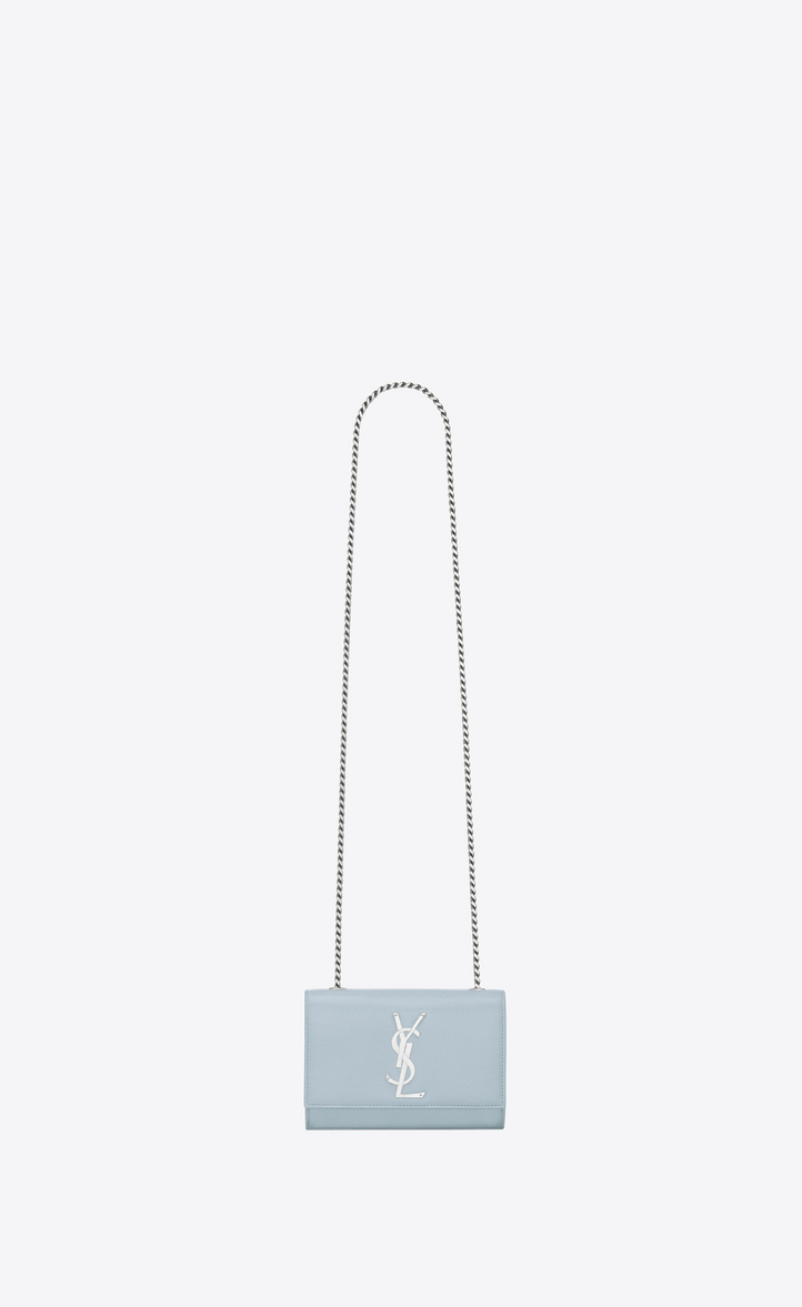 9857c2021c7a Classic Small KATE MONOGRAM SAINT LAURENT satchel in Sky Blue Grain de  Poudre Textured Leather