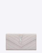 SAINT LAURENT Monogram Matelassé D Großes MONOGRAM SAINT LAURENT Portemonnaie mit Überschlag aus grauem MATELASSÉ-LEDER MIT GRAIN DE POUDRE STRUKTUR f