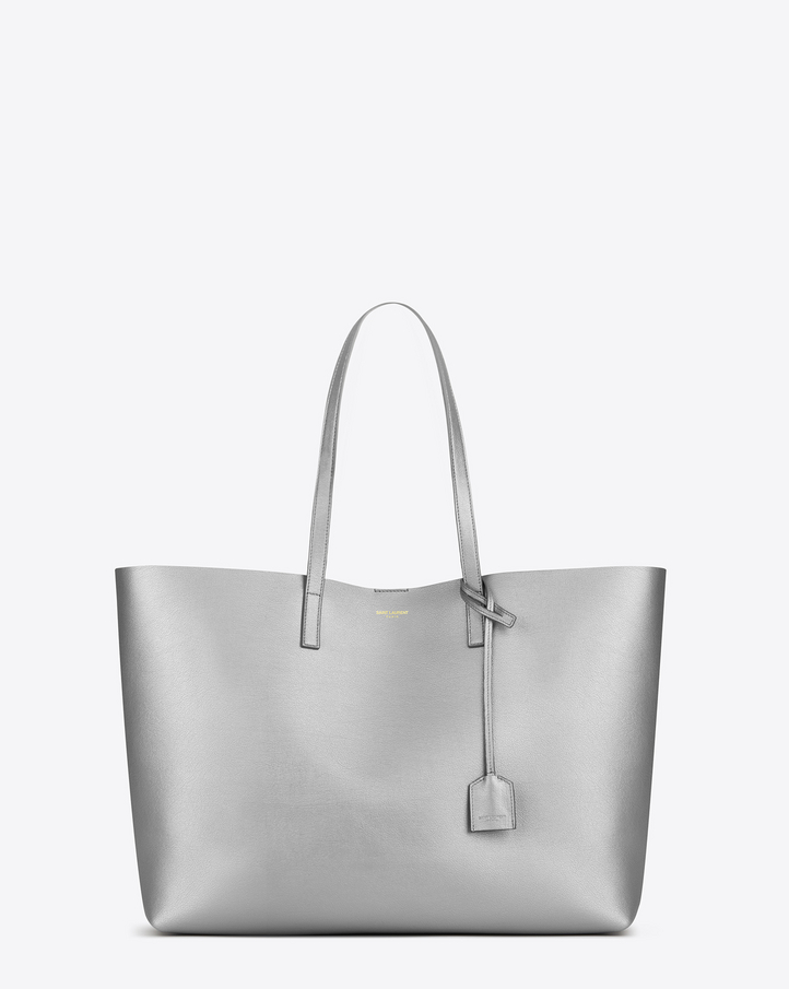 Saint Laurent Large SHOPPING SAINT LAURENT Tote Bag In Silver ...