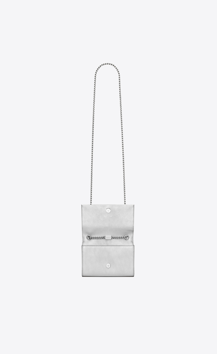 05ca9b90791d Zoom  Classic Small KATE MONOGRAM SAINT LAURENT Tassel Satchel in Silver  Metallic Leather