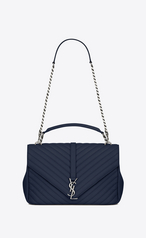 Saint Laurent Large Coll 232 Ge Bag In Navy Blue Matelass 233