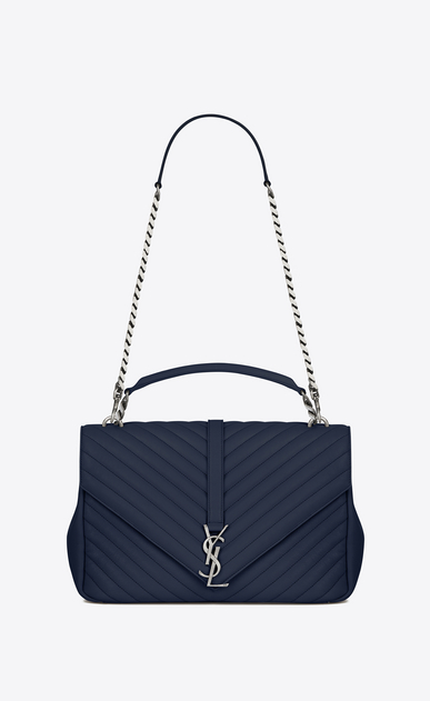 SAINT LAURENT Monogram College D classic large collège bag in navy blue matelassé leather a_V4