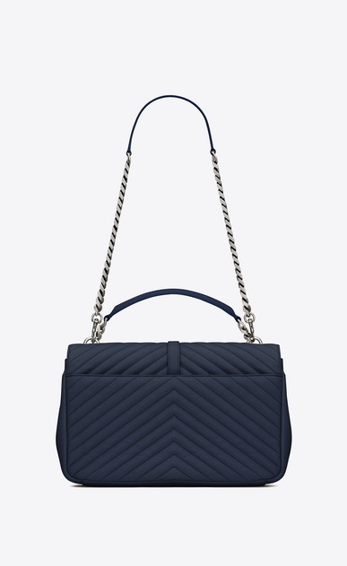 SAINT LAURENT Monogram College D classic large collège bag in navy blue matelassé leather b_V4