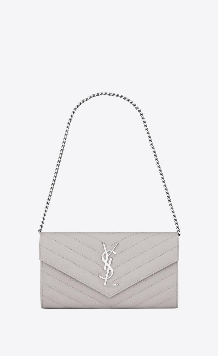 Small MONOGRAM SAINT LAURENT Chain Wallet in Light Grey Grain de Poudre  Textured Matelassé Leather, 0cc9096cfd