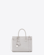 SAINT LAURENT Baby Sac de Jour D Classic Baby SAC DE JOUR Bag in Pearl White Crocodile Embossed Leather f