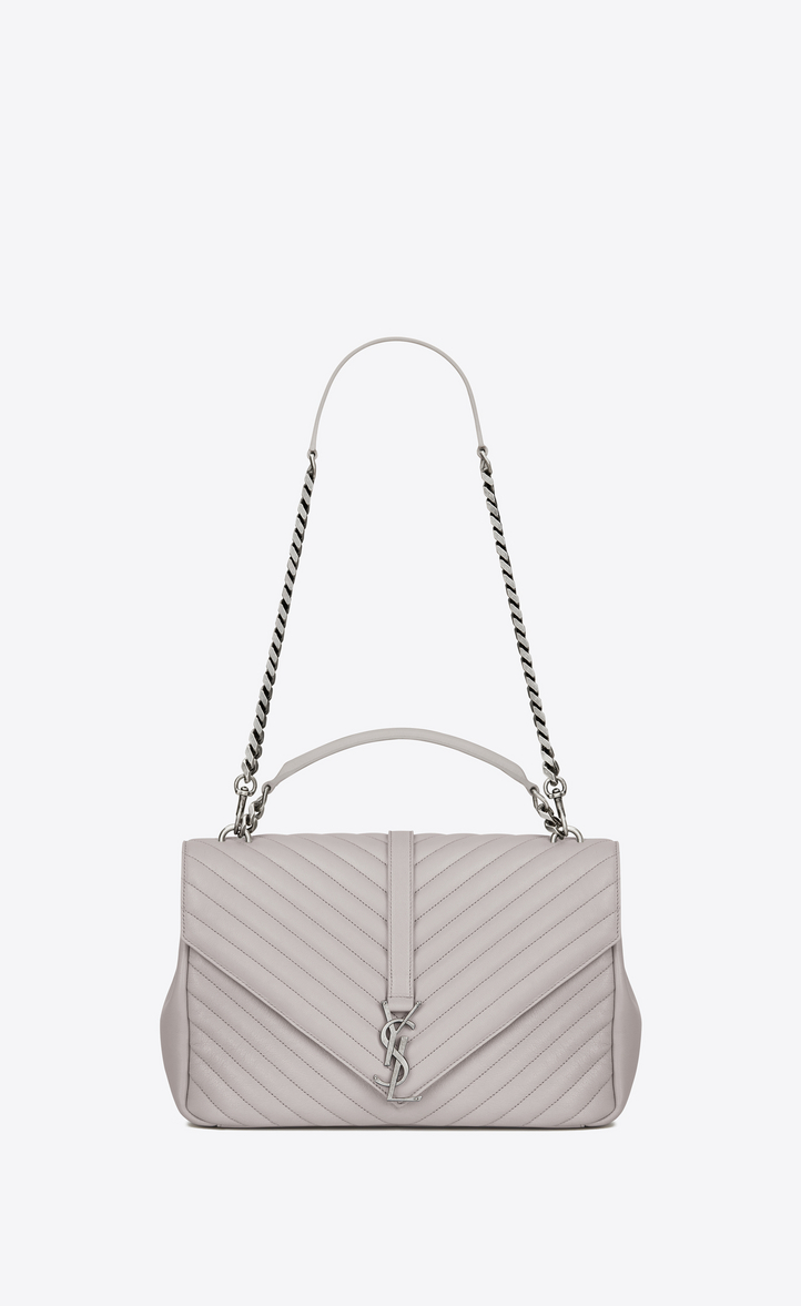 5e03dbfabe14 Zoom  Classic Large MONOGRAM SAINT LAURENT COLLÈGE Bag in Light Grey  Matelassé Leather