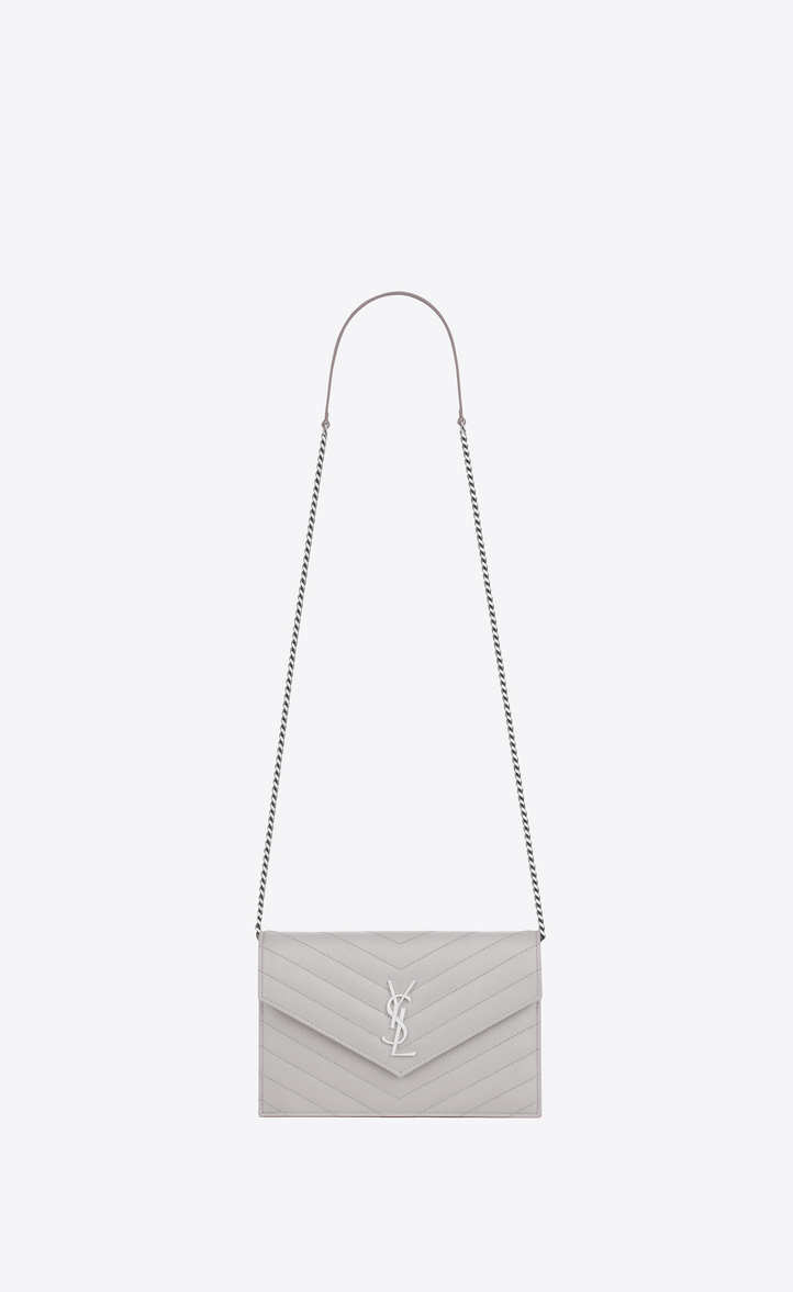 En Monogram De Gris Envelope Claro Textured Saint Poudre Matelassé Chain Leather Laurent Wallet rZwZ6qXT